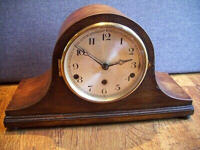 Antique 1930's German Oak Mantel Clock with Westminster Chime (Key and Pendulum)