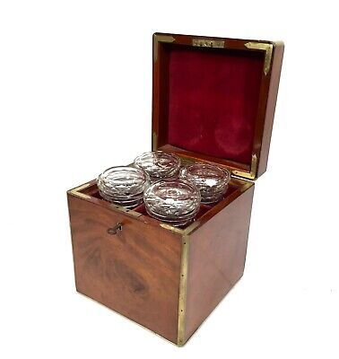 19th Century Mahogany Campaign Box & 4 Glass Pickle Jars / Victorian Antique