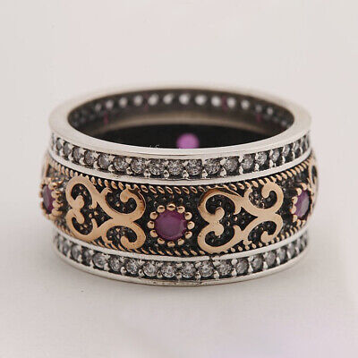 Boho 925 Silver Rings Turkish Ruby Topaz Rings Women Men Wedding Jewelry SZ#6-10