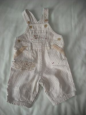 Mothercare baby boys beige stripe cute dungarees new baby