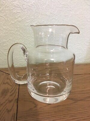 """Wedgwood Small Heavy Glass Jug Pitcher Carafe. Signed.VGC Quality Design 6.5"""""""