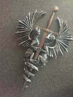 Athame / Dagger Dragon Pewter Wall Plaque Decor
