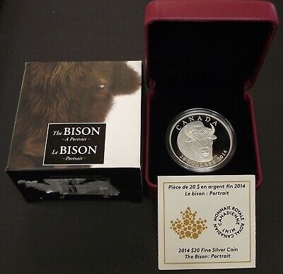 2014 Fine 1oz Silver The Bison Canada $20 Dollars RCM Proof Coin, B54