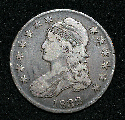 A US 1832 Capped Bust Half Dollar Sm Letters O-118 VF 50c 1/2 silver coin