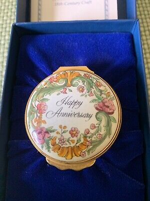 Halcyon Enamel Over Copper Round Hinged Lid Box - HAPPY ANNIVERSARY - Pink Box
