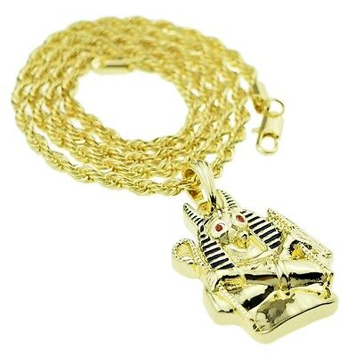 Egyptian God Of The Dead Anubis Bust Hip Hop Chain Gold Finish Rope Necklace 24""