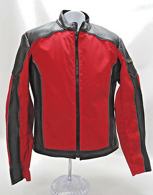 Hein Gericke Motorcycle Jacket - Mens Size Large - Black Leather Red Canvas- Euc