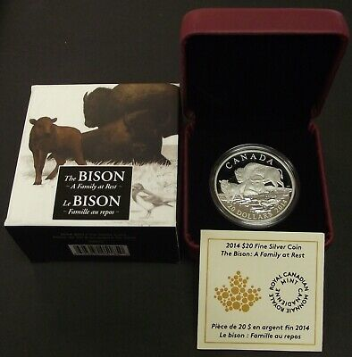 2014 Fine 1oz Silver The Bison Family Canada $20 Dollars RCM Proof Coin, B70