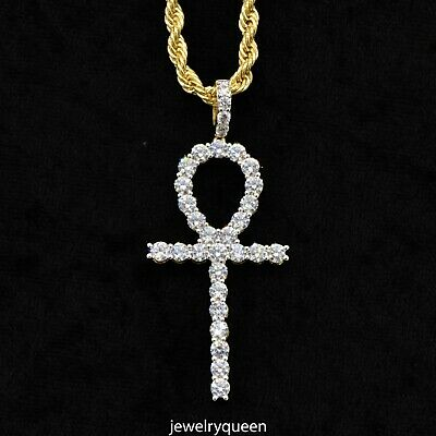 """14K Gold Plated Solitaire Icy Lab Diamond Ankh Pendant Hip Hop & 20"""" Rope Chain"""