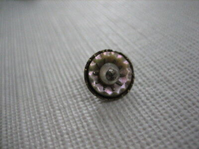 "Vintage Small 7/16"" MOP Mother Of Pearl Shell Button, In Metal, Pin Shank - P273"