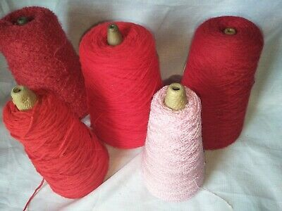 Mixed red/pink lot of cone wool/yarn for knitting machine