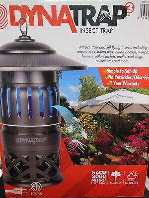 DynaTrap 3 DT1050 Safe & Simple Insect Trap 1/2 Acre + 2 Extra UV Bulbs