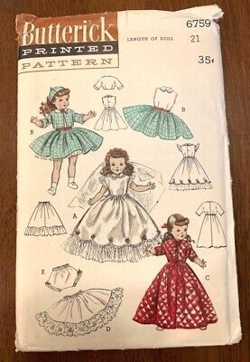 """VINTAGE BUTTERICK 1950s 21"""" DOLL BRIDAL GOWN & TROUSSEAU SEWING PATTERN #6759 !!"""