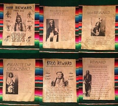 6 Old West Wanted Posters Indian Custer Geronimo Crazy Chief Bull Sioux Reward