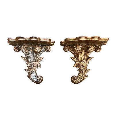 Two Similar Carved Wood Italian Wall Brackets
