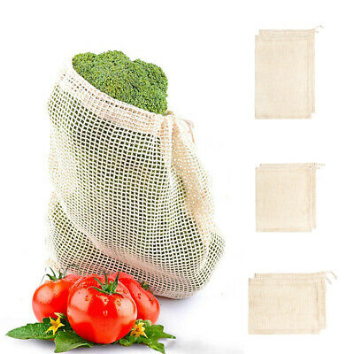 New Reusable Cotton Mesh Produce Bags Grocery Fruit Storage Shopping String Bag
