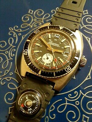 Vintage Diver Watch Lucerne Mens 1960s Double Seconds Hands 5ATM Swiss made...
