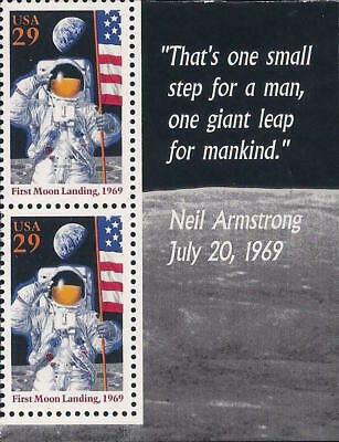 Apollo 11 25th Anniversary First Moon Landing Neil Armstrong Quote US Stamp MINT