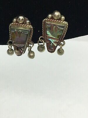 925 Sterling Silver ANTIQUE VINTAGE ALPACA TAXCO MEXICO Stone Earrings Screw On