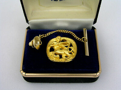 Swank Gold Plated Astrologial Zodiac Tie Tack Sagittarius - New Old Stock Estate