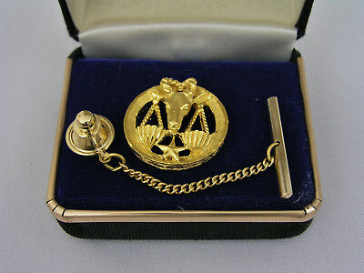 Swank Gold Plated Astrologial Zodiac Tie Tack - Libra - New Old Stock Estate