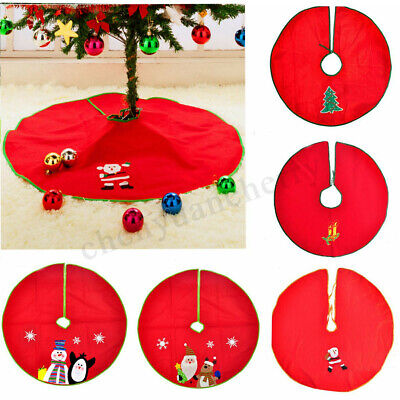 90cm Santa Claus Christmas Tree Skirt Base Floor Mat Cover XMAS Party Decoration