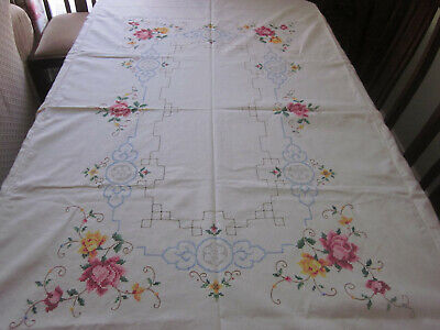Beautiful Vintage Roses Cross Stitch  Rectangular  Tablecloth