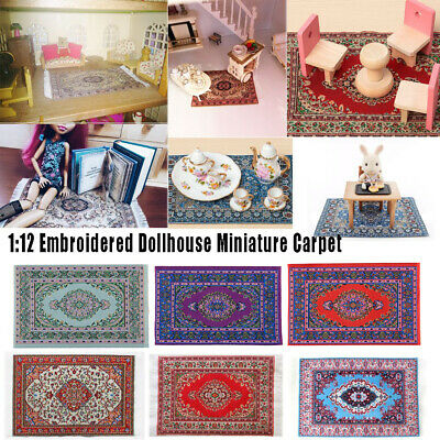 1:12 Doll House Turkish Style Woven Floral Home Rug Mat Mini Doormats Carpet