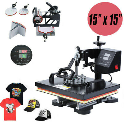 "15x15"" 5 in 1 Heat Press Machine Transfer Sublimation T-Shirt Mug Cup Print"
