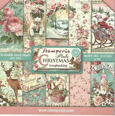 "Stamperia Pink Christmas 8"" x 8"" Double Sided Paper Pad 10 Designs SBBS03 Free P"