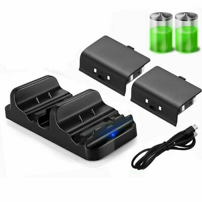 For Xbox One S Dual Controllers USB Charging Cable +2PCS Rechargeable Battery