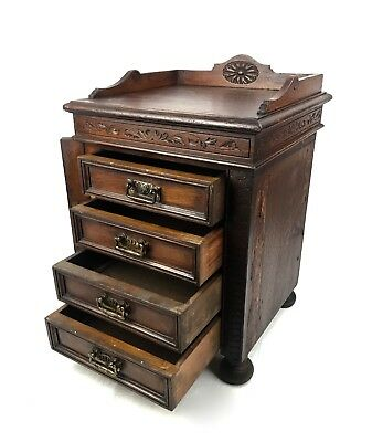 Antique Wooden Chest Of Drawers / Cabinet / Apprentice 19th Century Piece