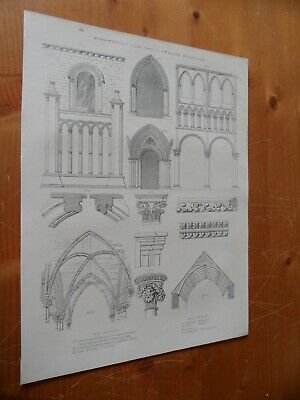 SEMI-NORMAN & EARLY ENGLISH ARCHITECTURE  PRINT 19th century