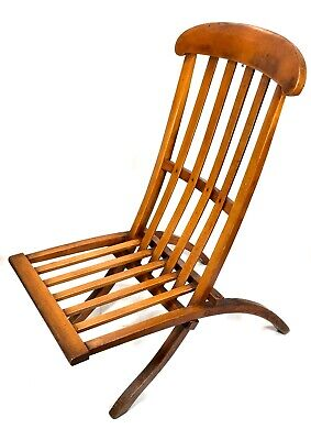 Antique Wooden Folding Steamer Chair / Lounger / 19th Century Seat