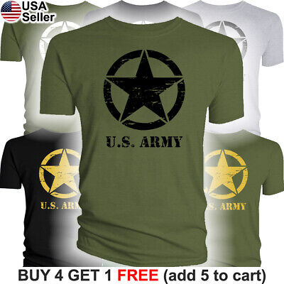 Jeep US Army Star T-Shirt US Military Invasion Logo WW1 WW2 WWI WWII World War
