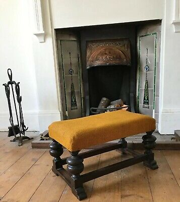 """Old Heavy Wooden Bench Style Footstool As Found 22"""" Country House Style"""