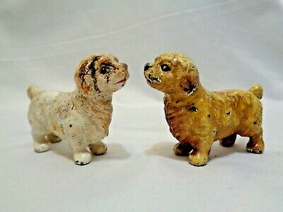 Cast Iron Metal Dog Paperweights Pair of Spaniels