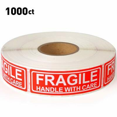 """Fragile - 1""""x3"""" Handle with Care Shipping Stickers 1000 Labels Per Roll"""