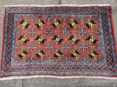 Vintage Old Traditional Hand Made Rug Oriental Wool Pink Red Small Rug 58x92cm