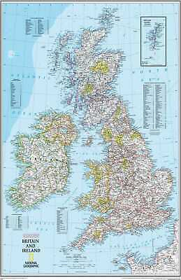 Map Of British Isles & Ireland UK Poster Print T1523 |A4 A3 A2 A1 A0|