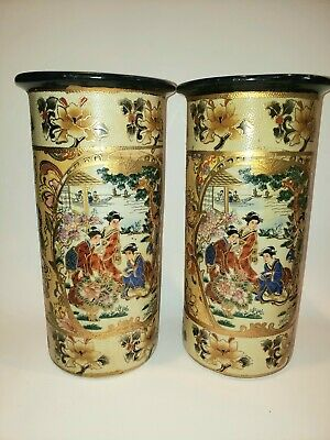 Pair of Vintage Familial Scene Chinese Vases