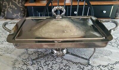 Viking Plate Square Silver Plated Chafing Warming Dish With Lid