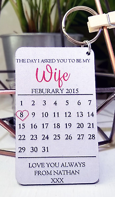 Personalised Calendar Anniversary Engagement Wife Girlfriend Keyring Gift