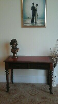 Victorian Mahogany 2 Drawer Side Table Circa 1870-80 With Red Leather Inset