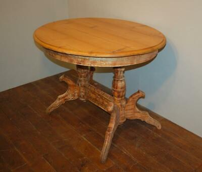Rare Antique Swedish Double Pedestal Oval Dining Table In Original Paint 1850
