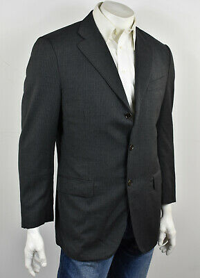 LUCIANO BARBERA Charcoal Gray Pinstriped Wool 3-Btn Classic Suit Jacket 42R