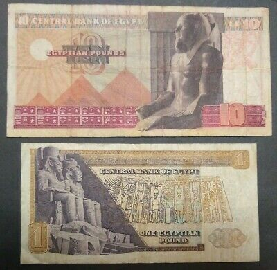Egypt 1974-77 King Ramses Ii & Templ Abo Simbel Large 2 Currencies 1 & 10 Pounds
