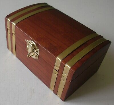 Wooden Banded Trinket Chest with Brass Trims and domed top - 'B' stamp to base