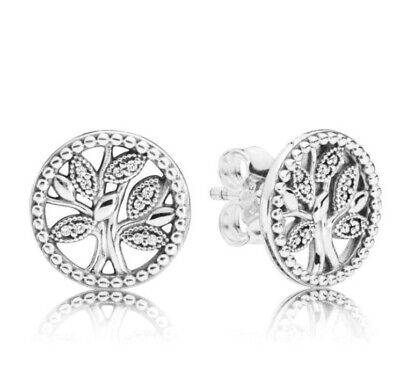 925 Sterling Silver Trees Of Life Pandora Stud EARRINGS with Crystals Pandora