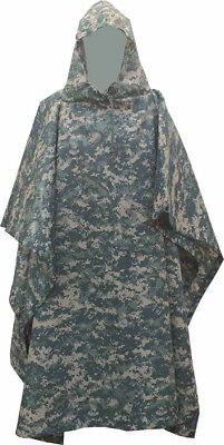 1Military Style Nylon Poncho ACU Camo Color Made in USA Brand New Heavy Nylon